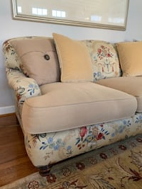 beige and white floral sofa chair Gaithersburg, 20878