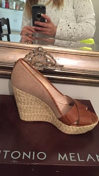 gray and brown leather wedge sandal with box