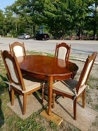 oval brown wooden table with four chairs  set Simcoe County, L9M 0H3