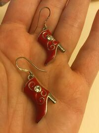 Sterling Silver 925 jewelry Red Boots with crystals Texas style  earrings / new Alexandria, 22311