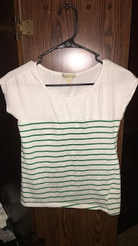Green striped tee shirt size small