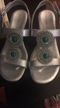 pair of gray leather open-toe sandals Conway, 29526