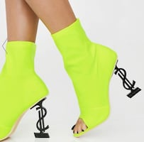 Size 7 Lime Green Money Sign Heels