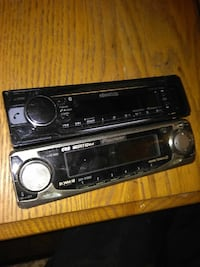two black and gray Kenwood and Pioneer just faces