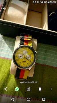 round silver-colored chronograph watch with red leather strap Singapore, 531008