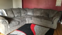 gray suede sectional sofa with throw pillows Edmonton, T5G 0H7
