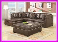 Brown Leather Sectional Sofa with Left-Side Chaise Irving