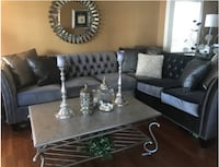 Gray tufted studded sectional sofa  Capitol Heights