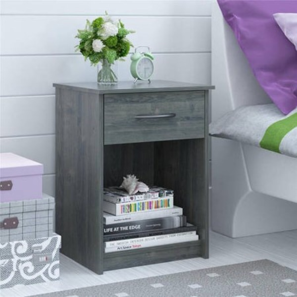 brand new packaged gray bedroom nightstand