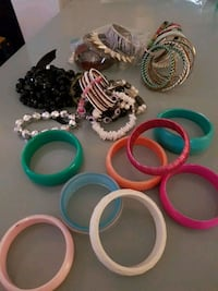 assorted color of plastic Bracelet and bangles.