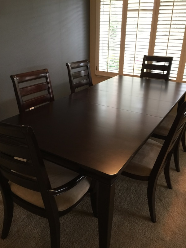 Amazing Rectangular Brown Wooden Dining Table With Six Chairs Dining Set Expresso Color Ibusinesslaw Wood Chair Design Ideas Ibusinesslaworg