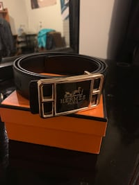 black and silver Gucci belt