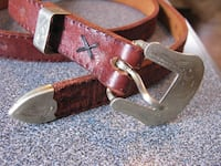 Western belt with engraved buckle