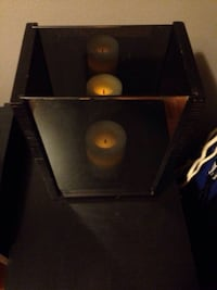 Mirrored glass and wood candle holder decor Mississauga, L5J 1V6