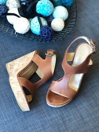 brown leather cork wedge sandals Vancouver, V6E 4S7