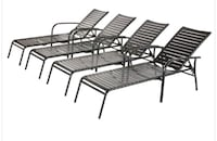 4 Pack Commercial Grade Pool Loungers Black Strap