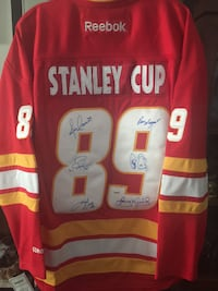 CALGARY FLAMES 6 x Autographed 1989 Stanley Cup Reebok Hockey Jersey