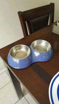 Small Double food and water pet dish, removable bo