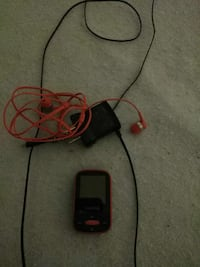 red and black portable MP3 player with charger, and orange canalbuds Flint, 48503
