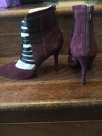 Purple suede pointed-toe strappy heels, size 6. The white you see in the bootie is the paper stuffing to keep the shape- there are brand new, never been worn. Sterling, 20166