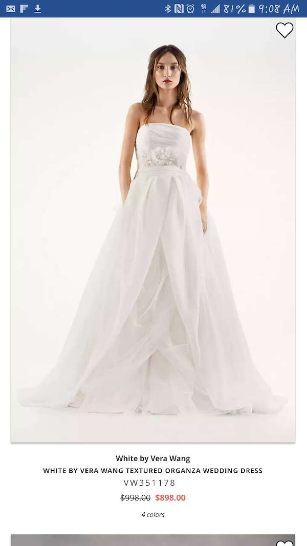 b57955a84dc Used women s white by vera wang textureed organza weddi for sale in Fort  Worth - letgo