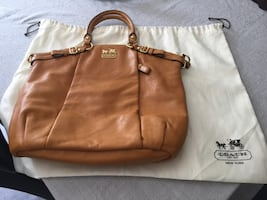 Brown coach leather hand bag