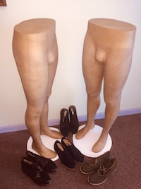 MANNEQUINS- Pair of Male Bottom Mannequins with 4 Pairs of New size 10 Shoes on Metal Stand Quincy, 02169