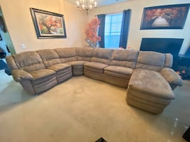 Tan Upholstery Sectional Recliner, Sofá Bed, Chaise Lounger -4pieces