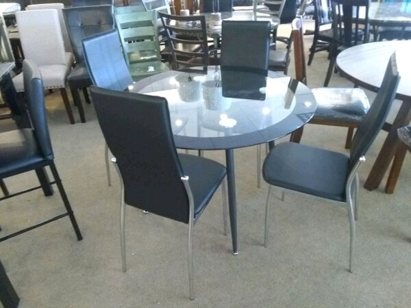 Used Black Glass Dining Table With 4 Chairs Sale For In Phoenix