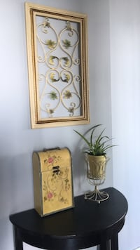 Side table, decorative box, plant and stand and wall art