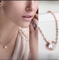 Brand New Cubic Zirconia Rose Gold Plated Necklace New Gold