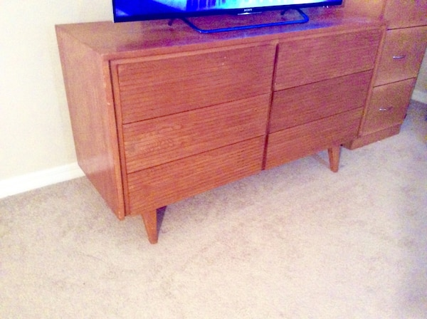 Used Solid Oak Dresser Or Credenza Tv Stand Nice Retro Mid Century