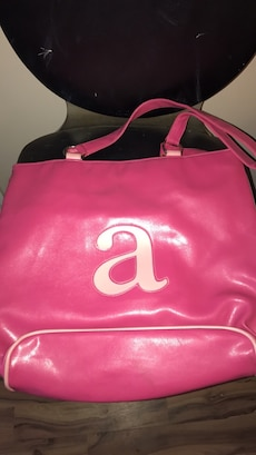 pink leather shoulder bag