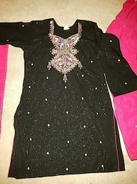 black and pink glittered long-sleeve shirt
