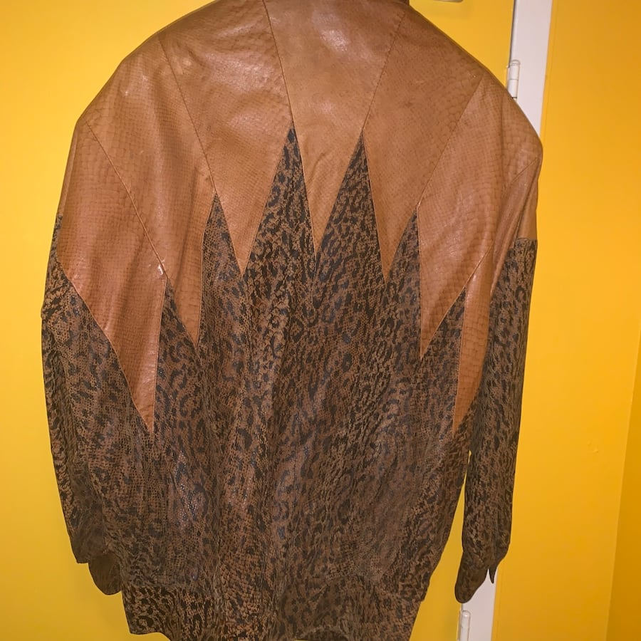 VINTAGE MILANO LEATHER LEOPARD PRINT JACKET 1