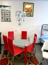 white and red dining set Rex