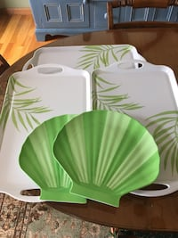 3 serving trays and 2 shell plates