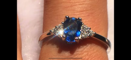 Lab created sapphire sterling silver size 6 ring