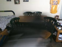 Table & 4 chairs. Brown & forest green.  Arvada, 80003