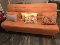 Orange Microfiber Sofa Bed With Storage. First owner, I've had them for 7 months 10/10 conditions  No pets. No eating on sofa.