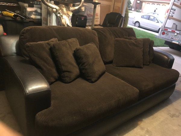 Astonishing Brown Corduroy Soft Large Sofa Plus Love Seat Creativecarmelina Interior Chair Design Creativecarmelinacom