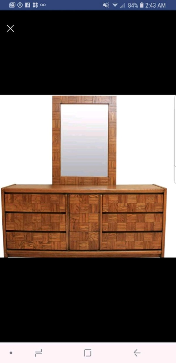 Dresser mirror and Queen bed