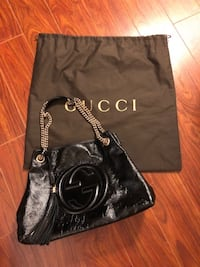 "Authentic GUCCI Black Leather Shoulder Bag (like brand new) Medium Size: 15""W x 10.6""H x 5.5""D Please contact if interested Markham"