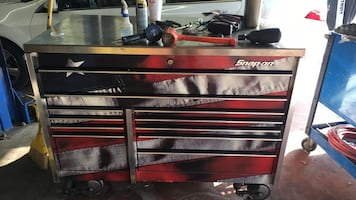 Red and black tool cabinet