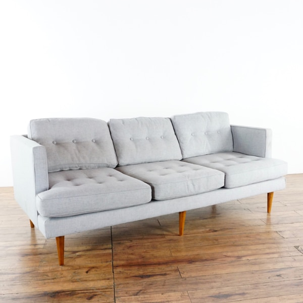 Cool West Elm Mid Century Modern Style Gray Upholstered Three Cushion Sofa 1017647 Ocoug Best Dining Table And Chair Ideas Images Ocougorg