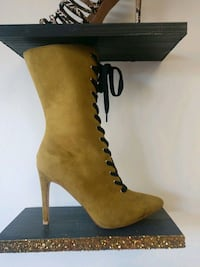 beige leather lace-up heeled wide-calf boot Wichita, 67218