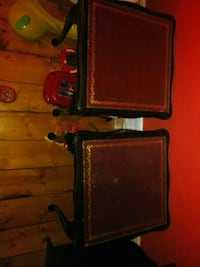 two brown and black wooden side tables London, NW11 7ES