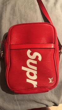 Red supreme x louis vuitton crossbody bag