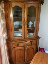 Table set with OAK framed glass display cabinet Calgary, T2Y 3G2