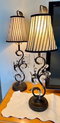 Designer crystal table lamp with black & white shade.